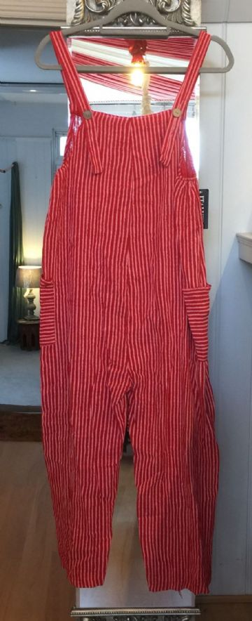 Cotton Dungarees - Stripey - Red